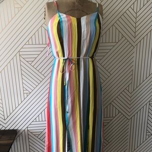 Strapless Stripes & Color Maxi Dress